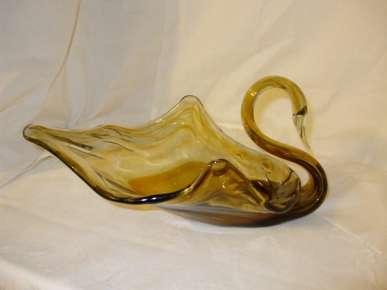 Green & Clear swirl handblown Glass Swan