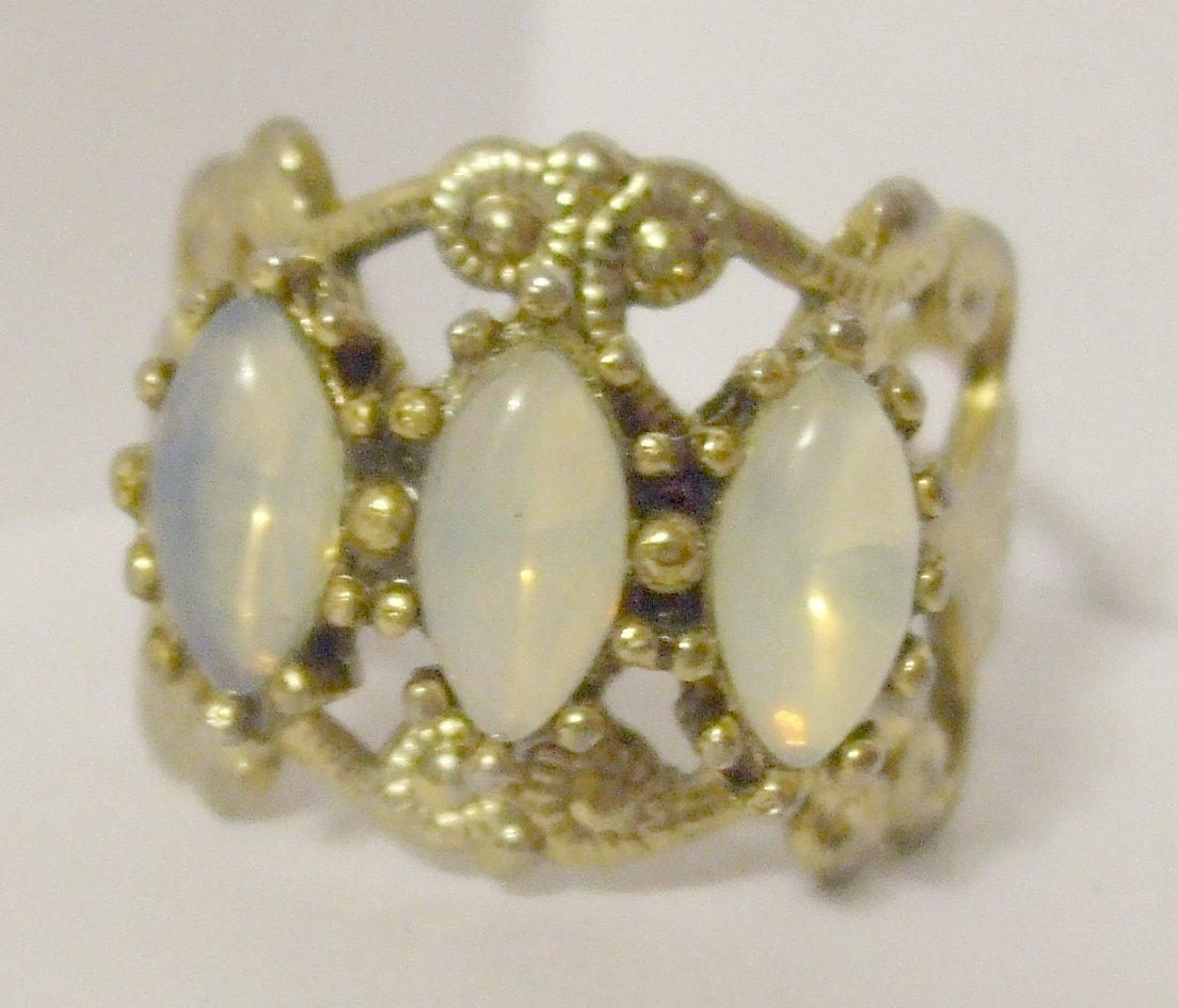 Vintage Goldtone Ring with 3 Moonstones Adjustable