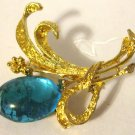 Vintage Goldtone Floral Brooch with Large Blue Glass Stone as Flower