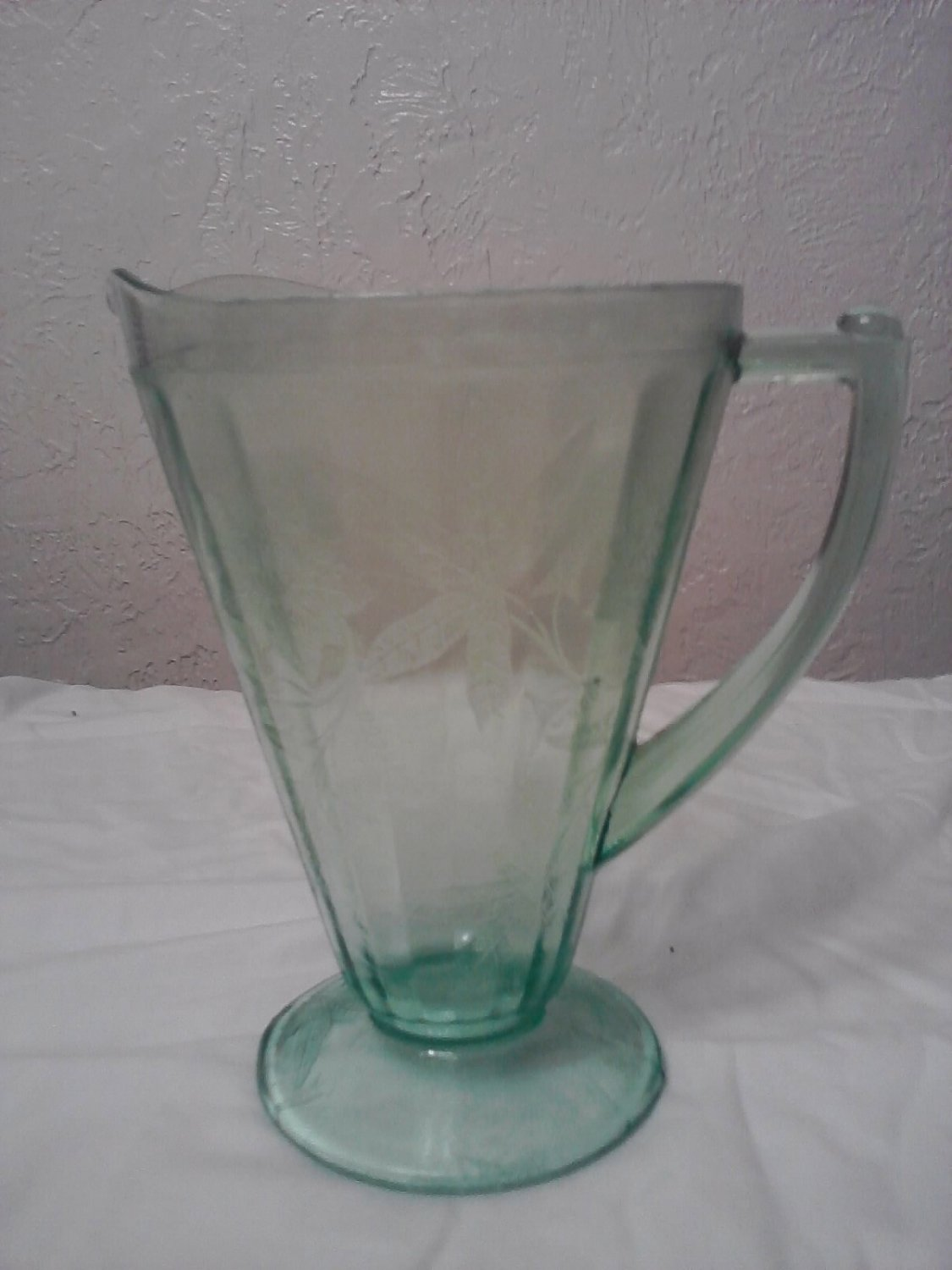 Green Cherry Blossom Pitcher Jeannette Glass Company
