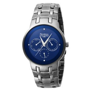 Closeout Armitron Men's 204561BLDG Ion-Plated Dark Gunmetal Stainless Steel & Blue Dial Dress Watch