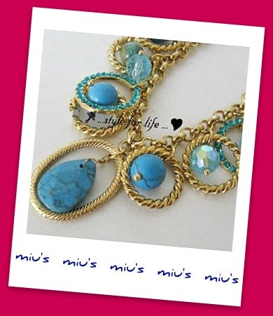 Turquoise Bead Stunning Evening 48cm Collar Necklace (zz.6)
