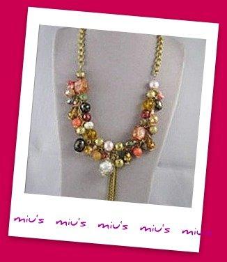 Korean design Dazzling Assorted Bead 45cm Collar Necklace (zz.10)