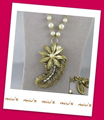 Classic Feather Pendant Faux Pearl 61cm Long Necklace (zz.18)