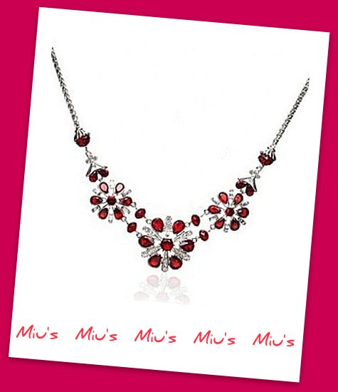 Gorgeous Red Color Snowflakes Rhinestone 45cm Necklace (zz.108)