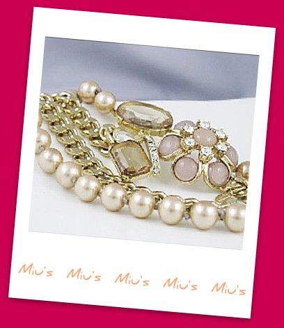 Sophisticated Feminine Double Strand Floral Design Faux Pearl 65cm Necklace (zz.120)