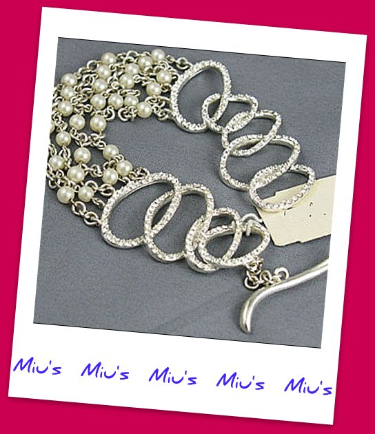 Stunning Inlaid with Pearl Rhinestone 20cm Bracelet (zz.8)