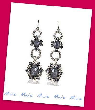 Royal Style Glamorous Imitation Gemstones 7.5cm Drop Earrings (zz.106)