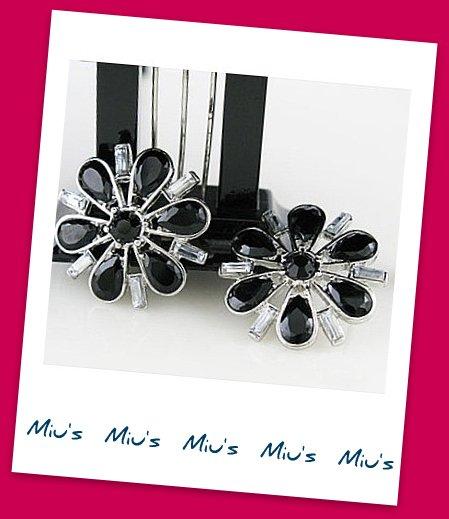 Gorgeous Black Color Snowflakes Rhinestone 2.7cm Stud Earrings (zz.111)