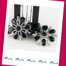 Gorgeous Black Color Snowflakes Rhinestone 2.7cm Stud Earrings (zz.111)
