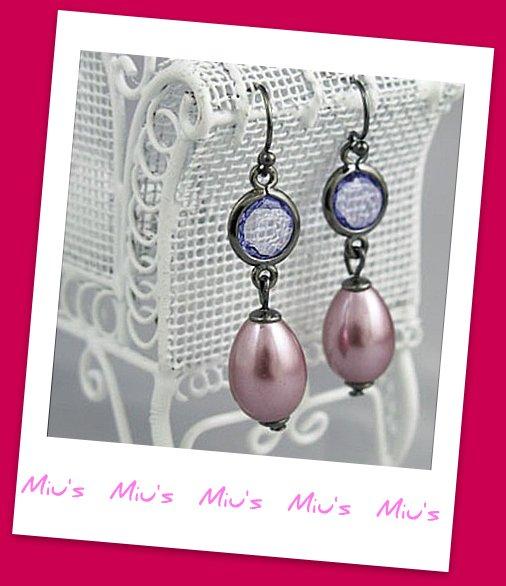 Purple Faux Pearl 4cm Drop Earrings (zz.118)