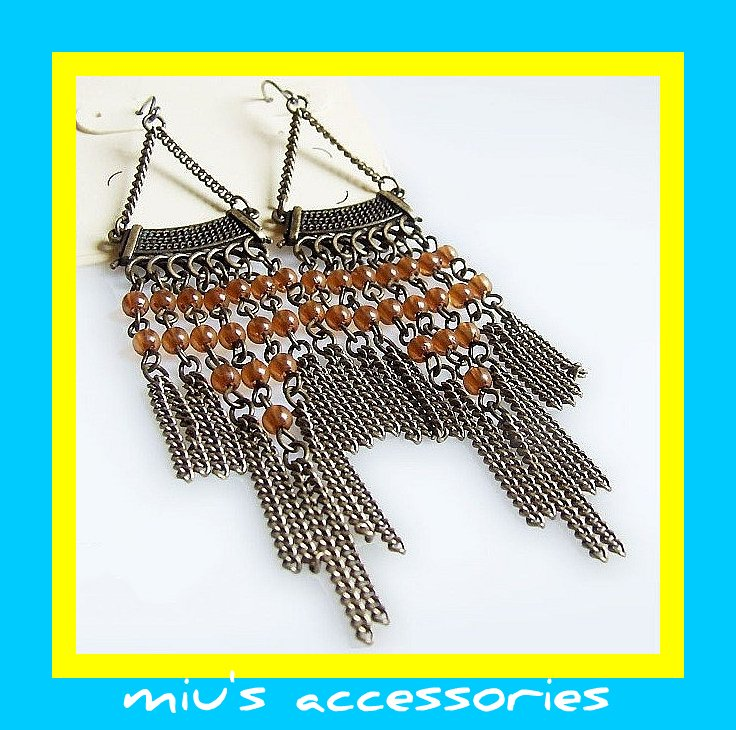 Miu's Bohemia Brazen Ethnic Fringe Drop Earrings (mis.22)