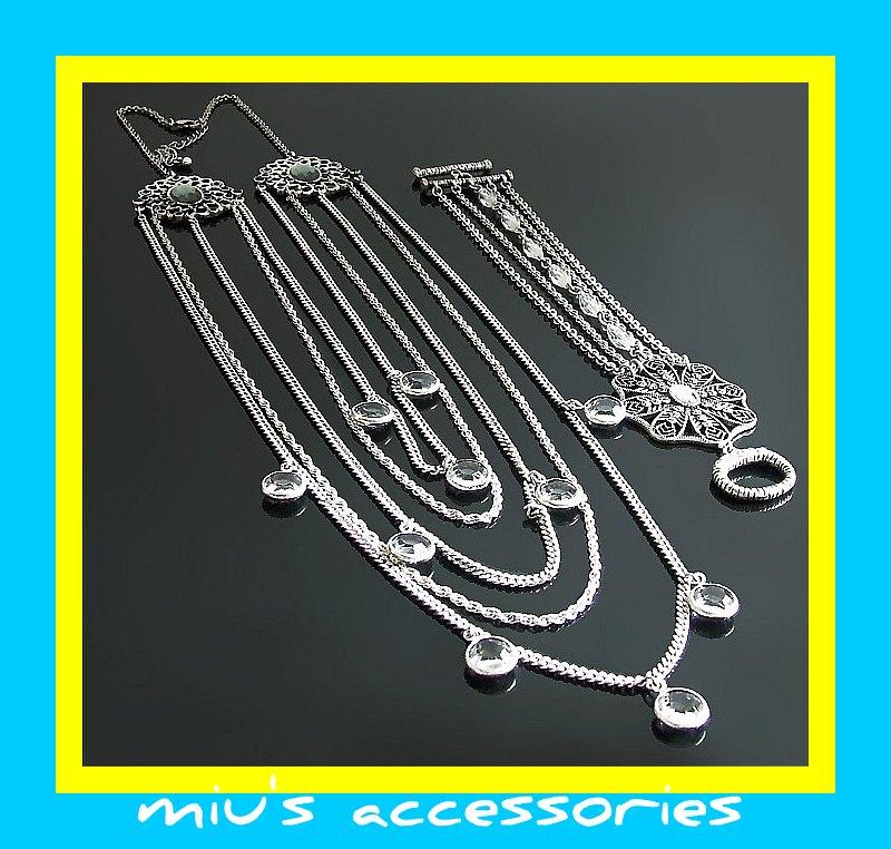 Miu's Silver + Black Rhinestone Multi Strand Necklace + Bracelet Jewelry Set (mis.26)