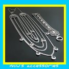 Miu's Silver + Black Rhinestone Multi Strand Necklace + Bracelet Jewelry Set (mis.26)