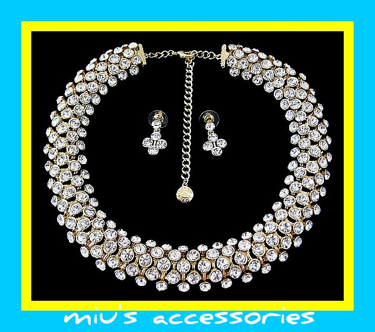 Miu's Glisten Rhinestone Wedding Gown Necklace + Earrings Jewelry Set (mis.w1)