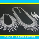 Miu's Sparkling Rhinestone Bride Necklace + Bracelet + Earrings Jewelry Set (mis.w2)