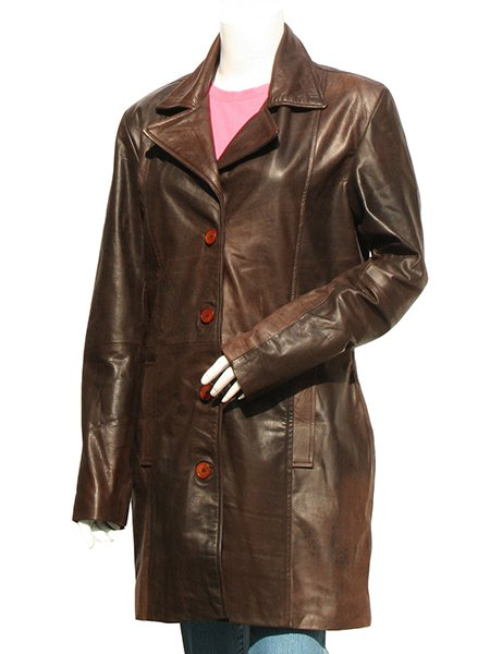 Women's Dark Brown Leather Trench Coat - Uzi