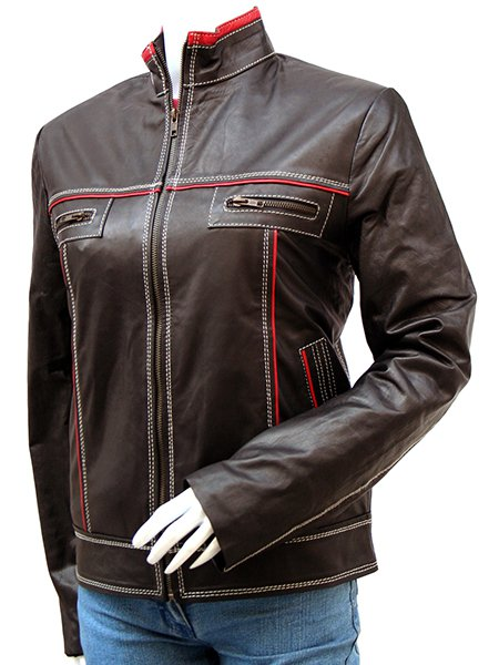 Women's Double Stitched Outdoor Leather Jacket - Sahadev