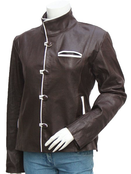 4 Button Brown & White Leather Jacket for Women - Swinford