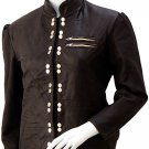 Artistic Studded Brown Leather Jacket Women - Sugriva