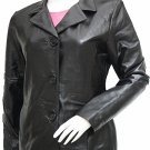 Timeless Black Women's Leather Blazer - Lucia