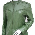 Fashion Green Leather Jacket Women - Abequa