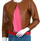 Women Tan Collarless Leather Jacket - Astoria