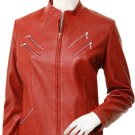 Biker Style Women's Red Leather Jacket - Hwoarang