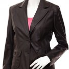 2 Button Brown Leather Blazer Women's - Celestina