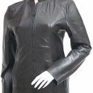 Moto Fitted Womens Black Leather Jacket - Gucia