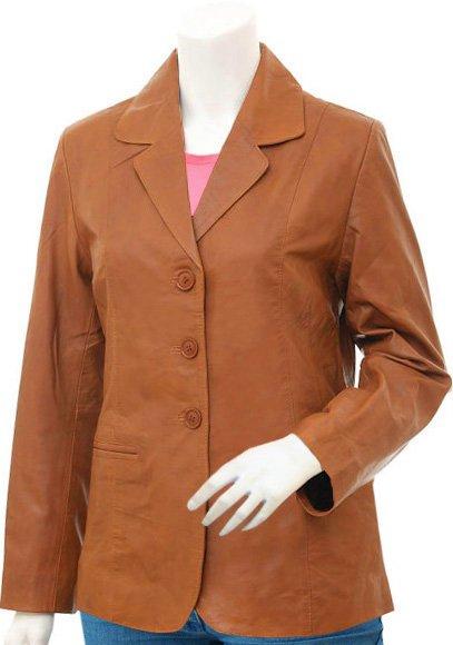 3 Button Women's Tan Leather Blazer Jacket - Ainaa