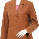 3 Button Women's Tan Leather Blazer Jacket - Ainaa