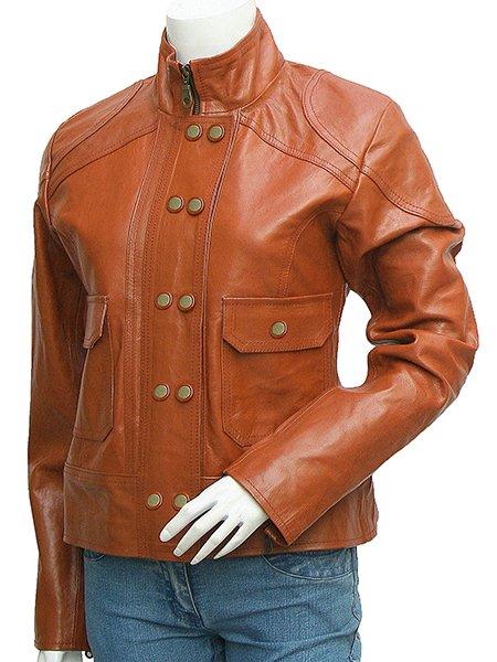 Reefer Look Women Tan Leather Jacket - Braill