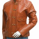 Reefer Look Women Tan Leather Jacket - Braill