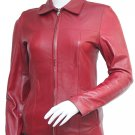 Trim Maroon Leather Jacket Women - Chalina