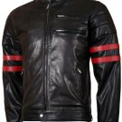 Wolverine Black with Red Strips Biker X-Men Leather Jacket