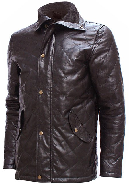 Versatile Men Quilted Brown Leather Jacket - Tab