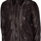 Men's Brown Leather Bomber Jacket - Kensou