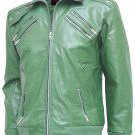 Charming Green Leather Bomber Jacket Men - Ryo