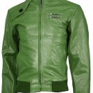 Expressive Green Bomber Leather Jacket Men - Iori