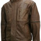 Distressed Men Brown Leather Bomber Jacket - Salomo