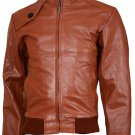 Soft Tan Leather Bomber Jacket Men - Ballinamore