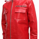 Soft Biker Red Leather Jacket Men - Avonmore