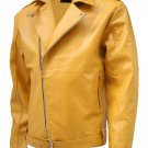 Biker Look Yellow Leather Jacket Men - Tafari