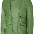 Charming Green Leather Jacket Men - Eddy
