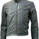 Classical Biker Grey Short Leather Jacket Men - Salter