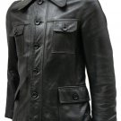 4 Pocket Black Leather Jacket Men's - Sakda