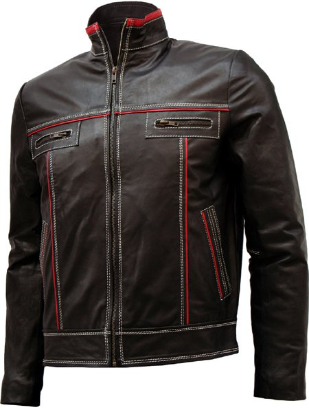 Double Stitched Men's Brown Leather Jacket - Saben