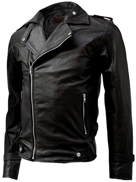 Classy Black Men's Leather Motorcycle Jacket - Salim