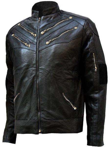 Zipper Style Men's Black Leather Jacket - Sudeva